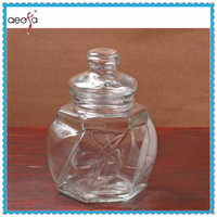 Unique Shape Glass Container Candy Jar with Glass Lid
