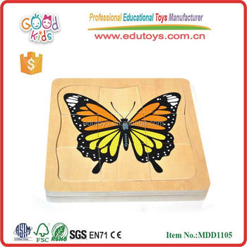 newest design butterfly school puzzles size 17.5*17.5*2 cm OEM educational wooden toys puzzles with good quality MDD-1105