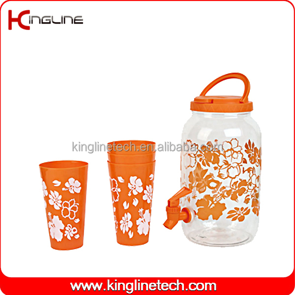 Adult 1gallon environment friendly sport water bottle with spigot and four cups OEM (KL-8007)