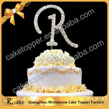 Elegant delicate letters crystal rhinestone birthday cake toppers for wedding stage decoration