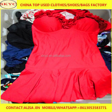used clothes China silk dress, blouse, cotton t-shirts, fashion tight pants mixed used clothing suppliers
