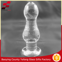 Giant Clear Color Pyrex Glass Asshole Plug Toy, Glass Ass Plug for Gay Sex FF-G9124