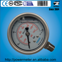 YBF60 diameter 63mm wika bourdon tube pressure gauge 100 bar or customed