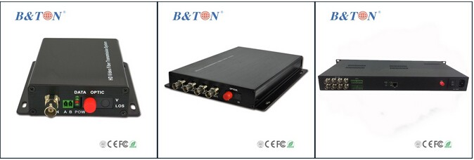 HD CVI/HD TVI//AHD Optical Converter with 4 CH- Fiber Optic Transmitter and Receiver. Single Mode/Multimode