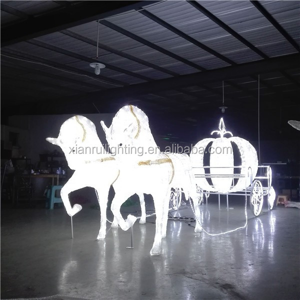 Artificial waterproof outdoor crystal Christmas decoration led royal horse carriage