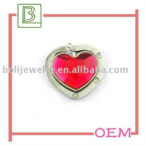 foldable heart shape acrylic purse hook