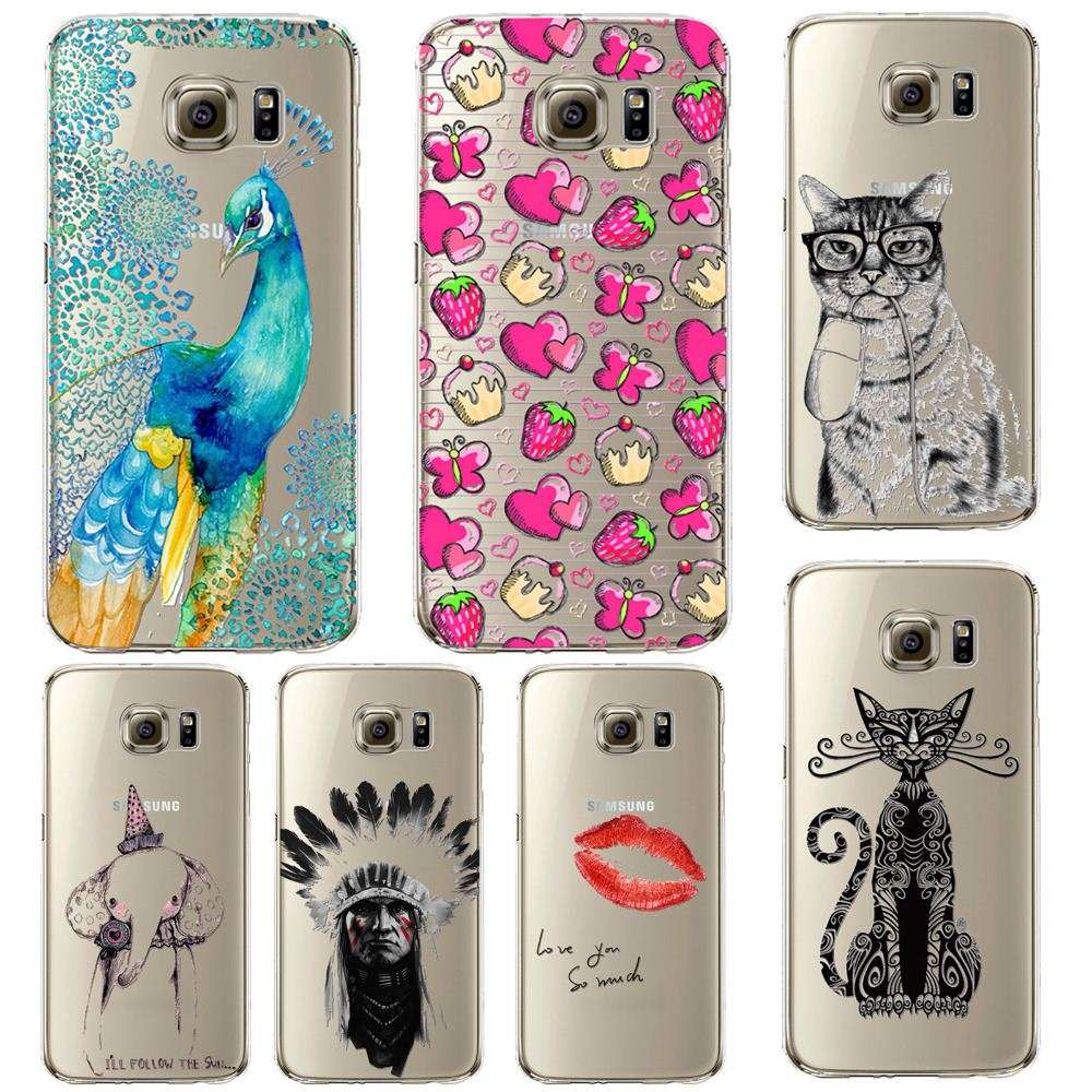 Phone Case For Samsung Galay S5/6 S6Edge s7 Beautiful Dandelion Balloons Peacock Fruit Soft TPU Back Cover Skin Shell Capa