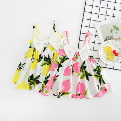 Summer New Baby Dress Lemon Print Baby Girls Clothes Slip Dress Princess Bowknot Dress for 1-4 years Baby Girl