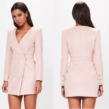 2017 hot sale ladies office wear v neck long sleeve sexy nude faux suede wrap dress