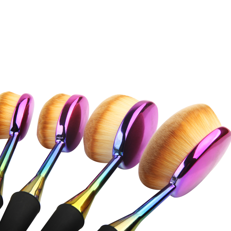 Factory High Quality Toothbrush Makeup Brush For Cosmetics Synthetic Hair Oval Brush Set Colorful Mermaid Handle Custom Logo