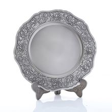 Low MOQ flower shape antique metal logo plate