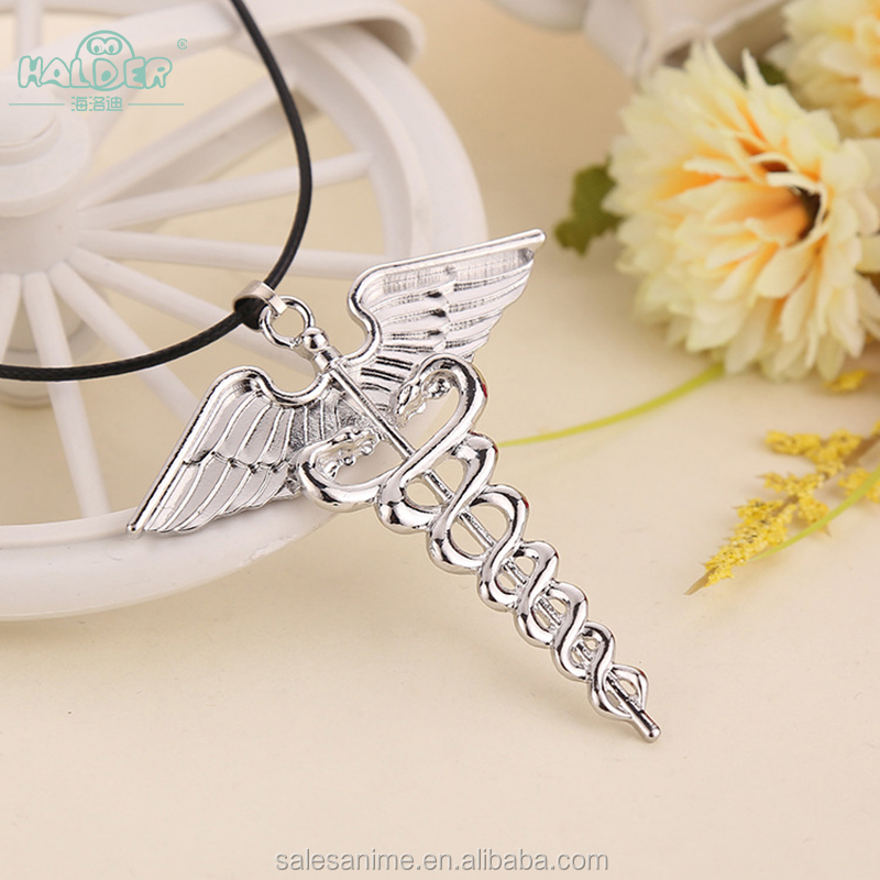 Stock Percy Jackson and the Olympians The Lightning Thief Alloy Audlt women wing pendant Necklace men stainless