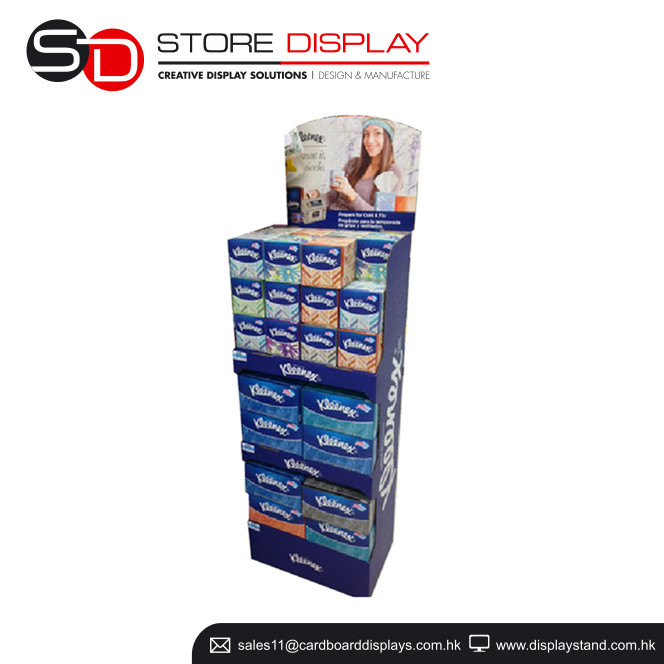 Advertising Candy display supermarket shelf, soft facial tissue promotion display bin, 1/4 pallet display for cookie