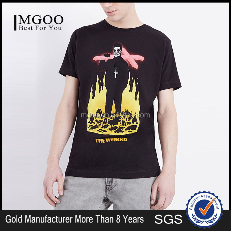 MGOO Wholesale Supplier Fire Print Custom T Tops Cotton Polyester Blends Strong Wear T Shirt With USA Size