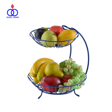 French Metal Wire Vintage 2 Tier Metal Fruit Basket