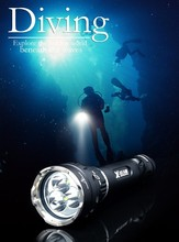 Hot selling X7 switch high/mid/low xm-l u2x3led narrow beam angle 9degree diving flashlight 26650