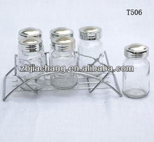 6 pieces clear cylinder glass kit for spices with frame