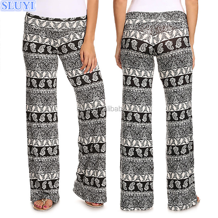 customized wholesale ladies wide leg pants culottes women black paisley print plus size chevron printed dance palazzo pants