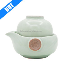 customized color glazed handmade painted pepper ceramic teapot with strainer set