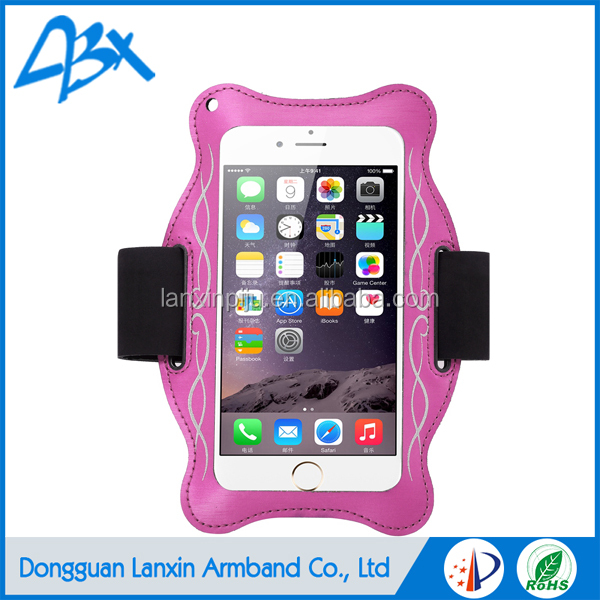 Multi-function smart phone running armband for sports jogging, with alterlative armband and lanyard; Pink color