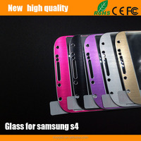 2.5D Color brushed titanium alloy metal Tempered Glass Screen Protector guard for Samsung S4
