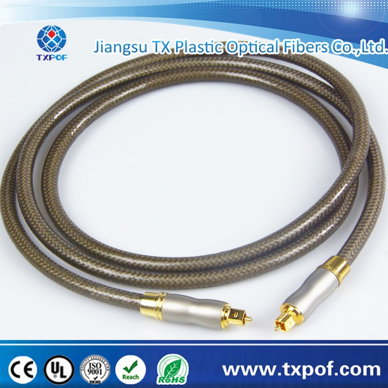 Metal connector nylon PVC jacket Toslink cable with gold plated head