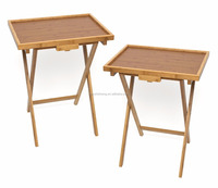 Natural Bamboo Wooden Folding Table Snack Magazine End Table