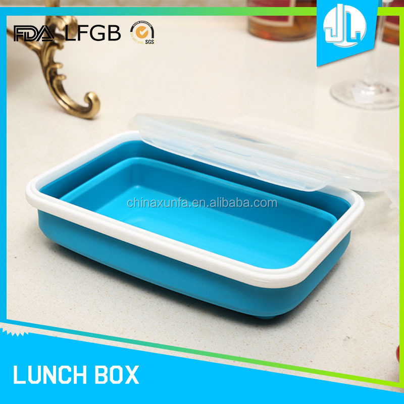 High quality reusable foldable easy clean silicone deep lunch box