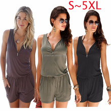 Fashion Deep V Neck Waist Tie Sleeveless Pants Jumpsuits 2017 Woman's Rompers PLUS SIZE