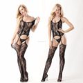 The new sexy open files lingerie Roses fishnet stockings hanging neck even
