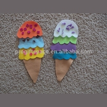 Hotsale new item cheap China wholesale handmade fabric indoor birthday party decoration soft cup cake felt ice cream stick craft