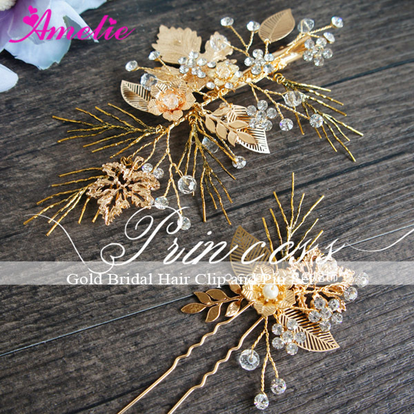 Classic Vintage Gold Wedding Hairgrips Party Hair Clip and Hair Pin Set Accessories