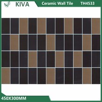 Black grid shape 450x300 mm ceramic wall tile for bathroom and kitchen