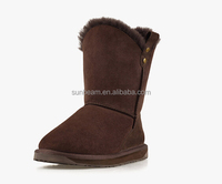 Genuine sheepskin leather womens winter snow boots warm boots snow boots