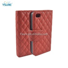 Quilted leather case for BLU Quattro 4.5 D440 with 3 credit card slots