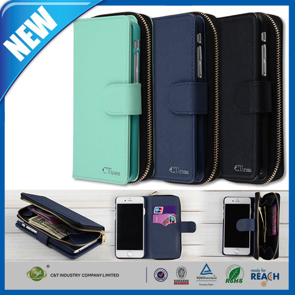 C&T Genuine leather detachable case bag card zipper flip for IPHONE 6 5.5