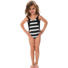 Lovely Children Little Girls Modeling Bikini Girl One Piece White Black Strappy Swimsuit