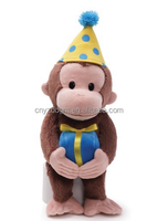Plush birthday monkey stuffed toy with birthday party hat and plush present