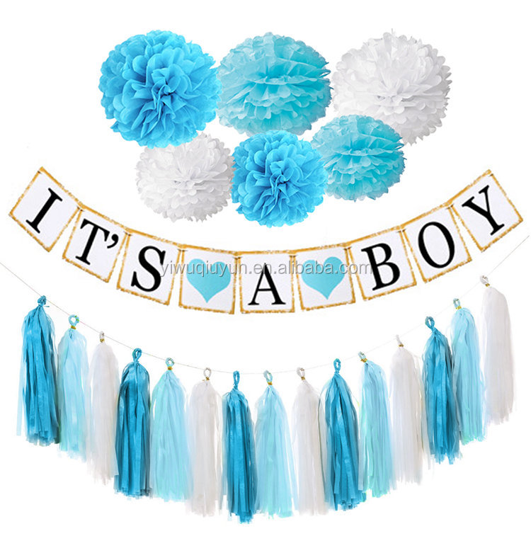 Paper Garlands Decoration Its A Boy Girl Bunting 1st Birthday Baby Shower Banner