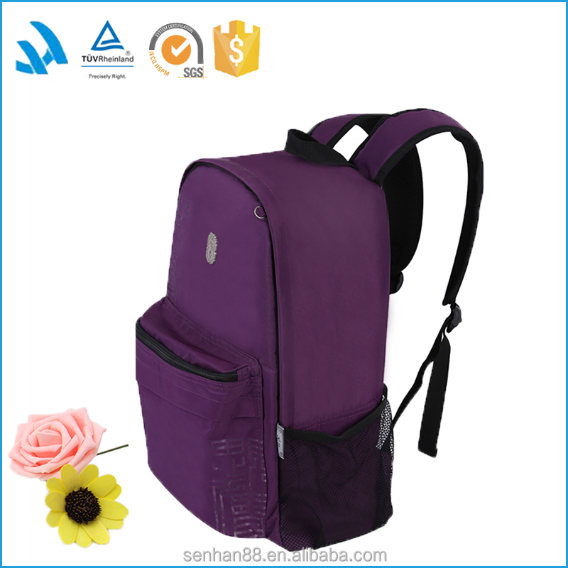 Top quality women purple polyester leather rucksack backpack