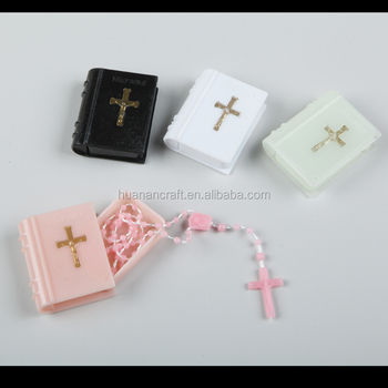 plastic beads rosary with Bible box