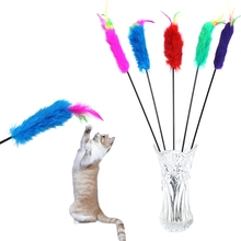 Soft Rabbit Hair Cat teaser Wand with colorful Feather Playing stick for CAT Pet