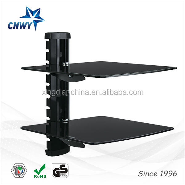 set-top box tv mount dvd wall bracket with 2-layer tempered glass shelf Q02