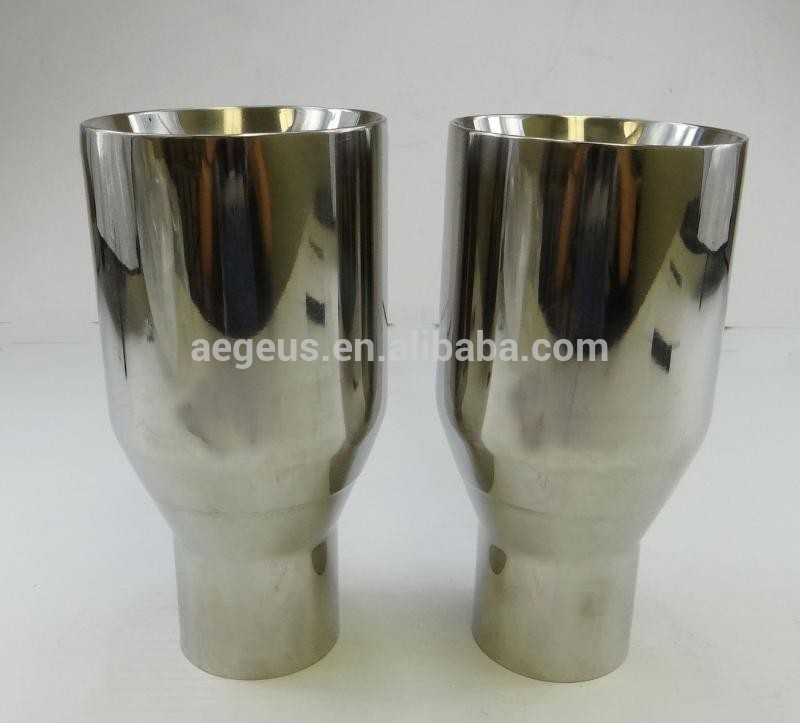 "High quality auto 2X Sliver Exhaust Duo layer Straight Tip Polished Stainless Steel 2.5""In 4""Out"