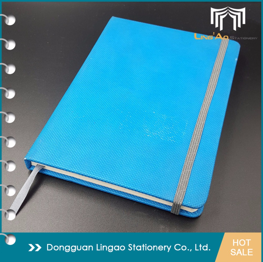 Wholesale Sky Blue custom Leather Case Bound notebook Journal Ruled inner page with elastic Strap and silk Book Marker