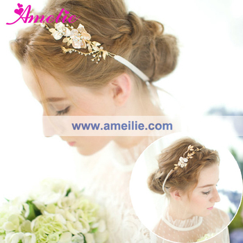 Gold Plated Shell Flower Wedding Bridal Headpieces Hair Vine for Wedding Prom Dress Hair Accessories