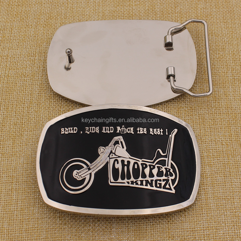 2016 Custom Metal Silver Belt Buckle with Soft Enamel