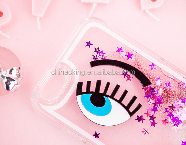 For Iphone 6 Plus 5 5S 4 4S 3D Dynamic Liquid Eye Eyelash Star Quicksand Bling Glitter Hard Case