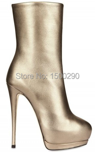 High quality concise gold silver women mid -calf  boots genuine leather high heels lady's combat boots motorcyle bootie