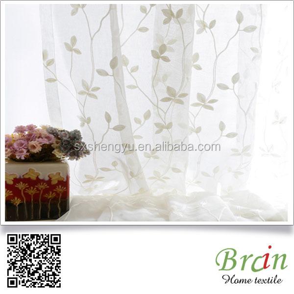 Flame Retardant Polyester Leaf Design Sheer curtain fabric